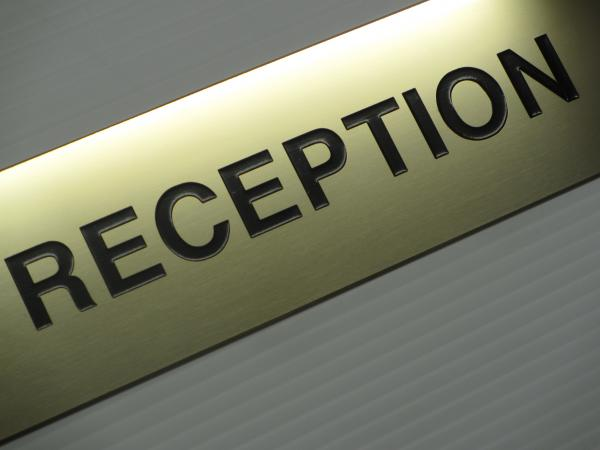 Polished Brass 'Reception' Sign